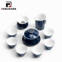 9 шт. Чай ware Винтаж японский Стиль Ji голубой глазурью золотая линия фарфор Чай комплект 1 Чай Пот Gaiwan 6 чай чашки 1 справедливая чашка 1 Комплек