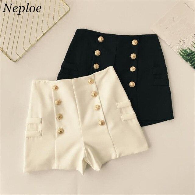 5758e88ef869 € 12.76 |Neploe 2018 verano nuevas llegadas Casual sólido elegante  pantalones cortos moda coreana Slim mujeres pantalones cortos de cintura  alta ...