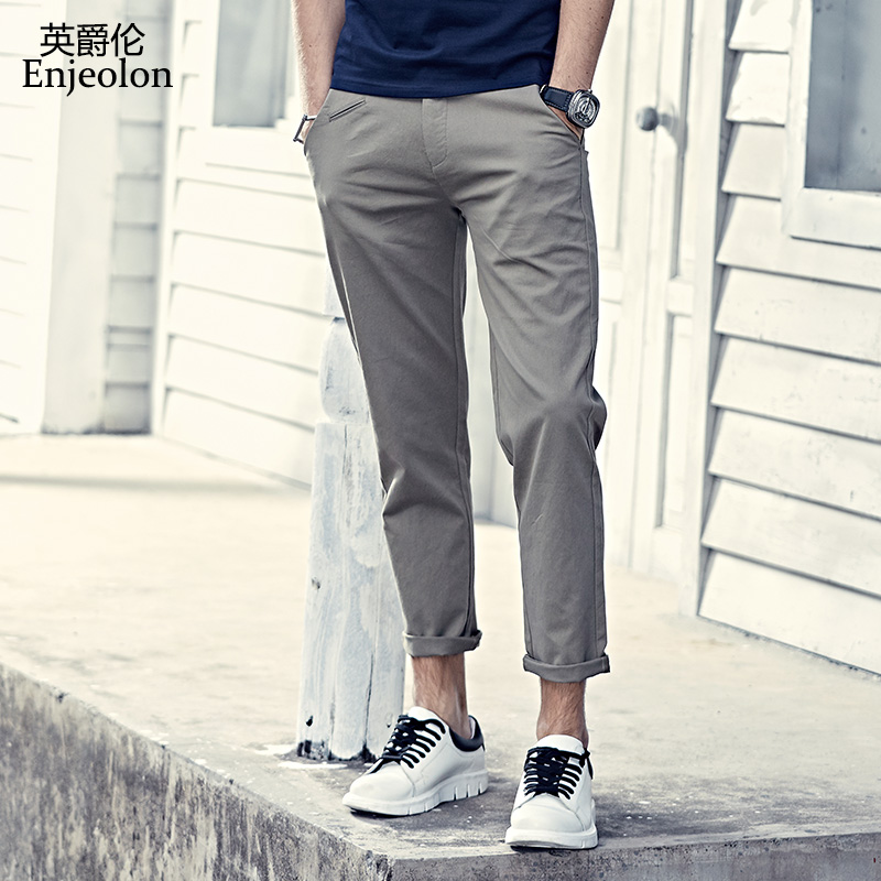 Enjeolon brand long trousers pencil pants men, top high quality clothing 4 color Straight males fashion Causal clothes K6237