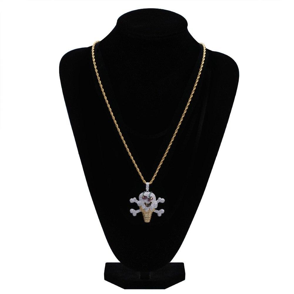 Dessin animé personnalité pirate crème glacée pendentif micro-clouté avec zircon rue mode hommes et femmes collier bijoux