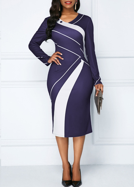 Sakazy Office Lady Geometric O-neck Women Dress Long Sleeves Colour coloured Slim And Hip wrapped Pencil 2019  Plus Size Dress 4