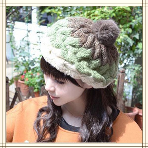 6c2c8eb794cd4 Cute Women Mixed Color Knitting Wool Beanie Hat With Rabbit Fur Hair Ball  Spring Winter Female Casual Warm Cap Free Shipping