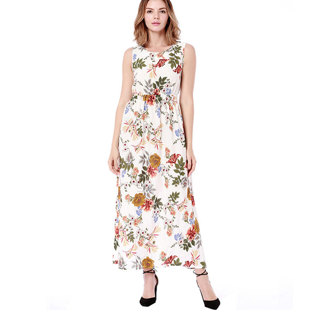 9c9c65758d9a € 22.91 |Mujeres verano maxi vestido impresión floral cuello redondo sin  mangas expansión cintura elástica Oficina damas partido viajes casual ...
