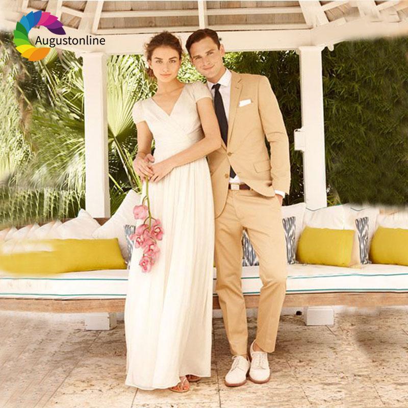 Elegante traje de color caqui para boda en aliexpress