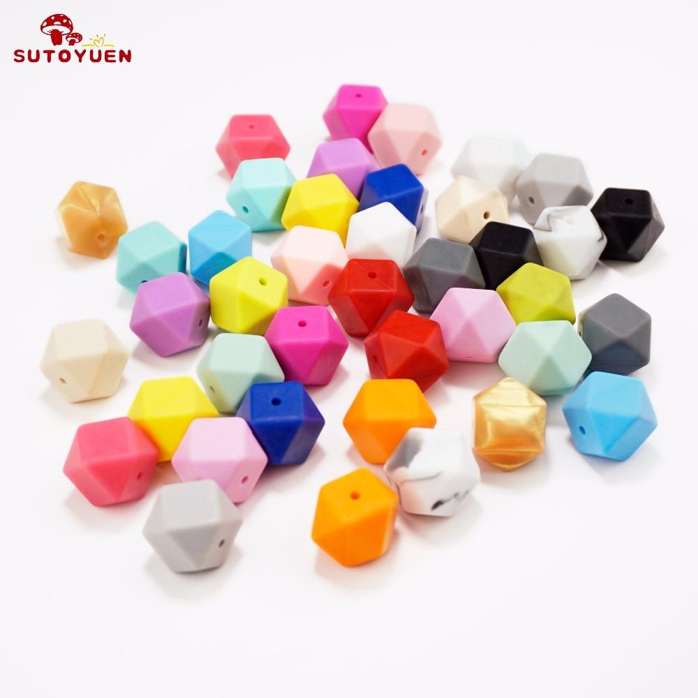 20szt 17mm BPA Free Hexagon Silicone Beads for Teether Silikonowy - Opieka nad dzieckiem - Zdjęcie 3
