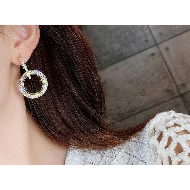 elegant crystal earrings gold silver color metal circle earrings round geometry drop earrings wedding party eardrop for woman 2