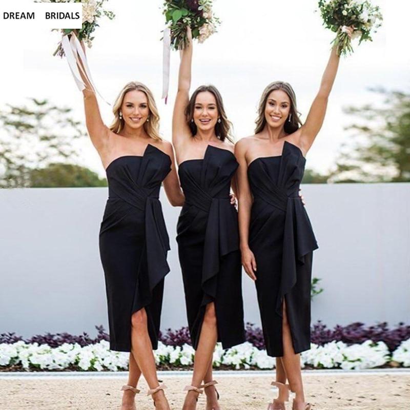 Sheath Wedding Dresses 2019: Short Black Bridesmaid Dresses Sheath Strapless Tea Length