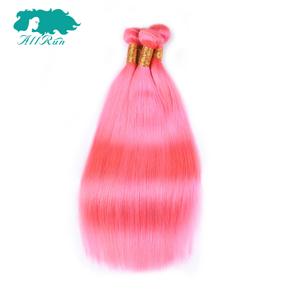 Allrun Hair Peruvian Human Hair Weave Bundles Straight Hair Bundles Pink Colorful 3 Pcs Non-remy Hair