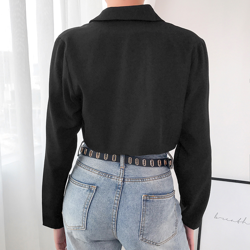 Rapwriter Fashion Star Brooch Notched Single-breasted Blazers Women 2019 Autumn Long Sleeve Loose Crop Jacket veste femme blazer