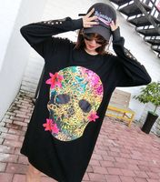 Punk Rock Rivet Skull Head Print T Shirt Long Sleeve 2017 Women High Street Mesh Spliced