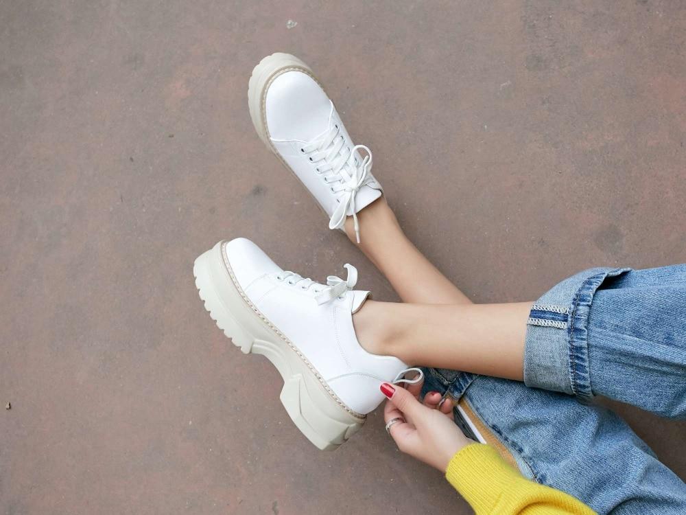 Vichelo Горячие сапоги в стиле ретро, обувь в сдержанном стиле натуральная кожа на шнуровке кроссовки средней высоты туфли на массивной платформе с круглым носком для повседневной носки; туфли с подошвой из вулканизированной резины L17