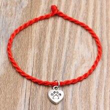 Dog Paw Prints Heart Charms Bracelets Red Thread String Bracelet Lucky Handmade Rope Women Men Lover Couple Gift