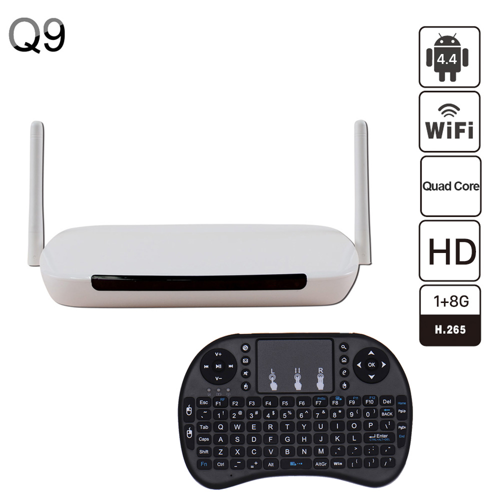 Android tv box Q9 Box 1G/8G RK3128 Quad Full Loaded add-ons WiFi 4K 1080P WiFi  Android 4.4 Smart TV BOX m8 fully loaded xbmc amlogic s802 android tv box quad core 2g 8g mali450 4k 2 4g 5g dual wifi pre installed apk add ons