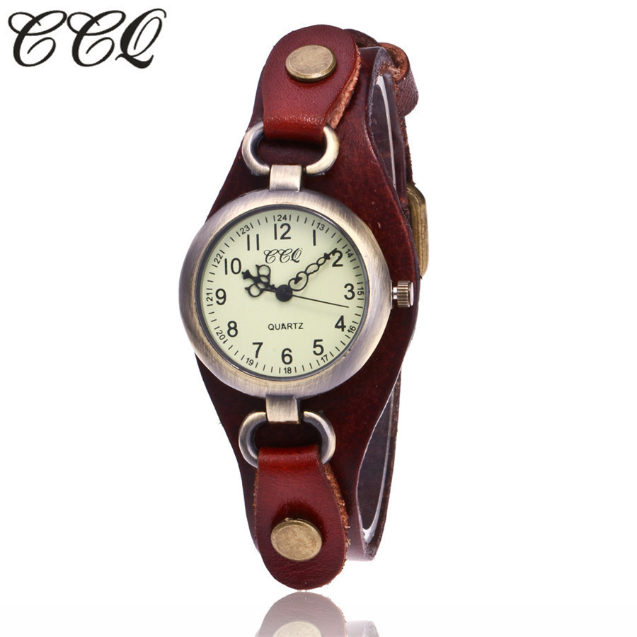 CCQ Brand Fashion Vintage Cow Leather Quartz Watches Women Bronze Dial Casual Dress Wristwatch Clock Relogio Feminino