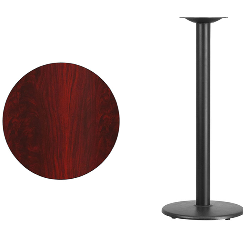Flash Furniture 24'' Round Mahogany Laminate Table Top with 18'' Round Bar Height Table Base [863-XU-RD-24-MAHTB-TR18B-GG] winsome cora pub table bar height round faux marble top black base