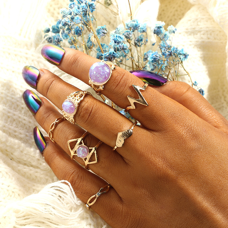 7pcs set Rock Natural Stone Ring Set Gold Color Bohemian Geometric Heart Beat Knuckle Rings Boho Custome Jewelry Gifts For Women in Rings from Jewelry Accessories