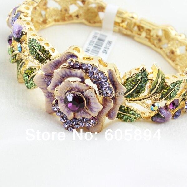 Luxury 24k Gold Plated Austrian Crystal Rhinestones Wedding Bracelet Cloisonne Enamel Brand Bangles For Women Bride Jewelry
