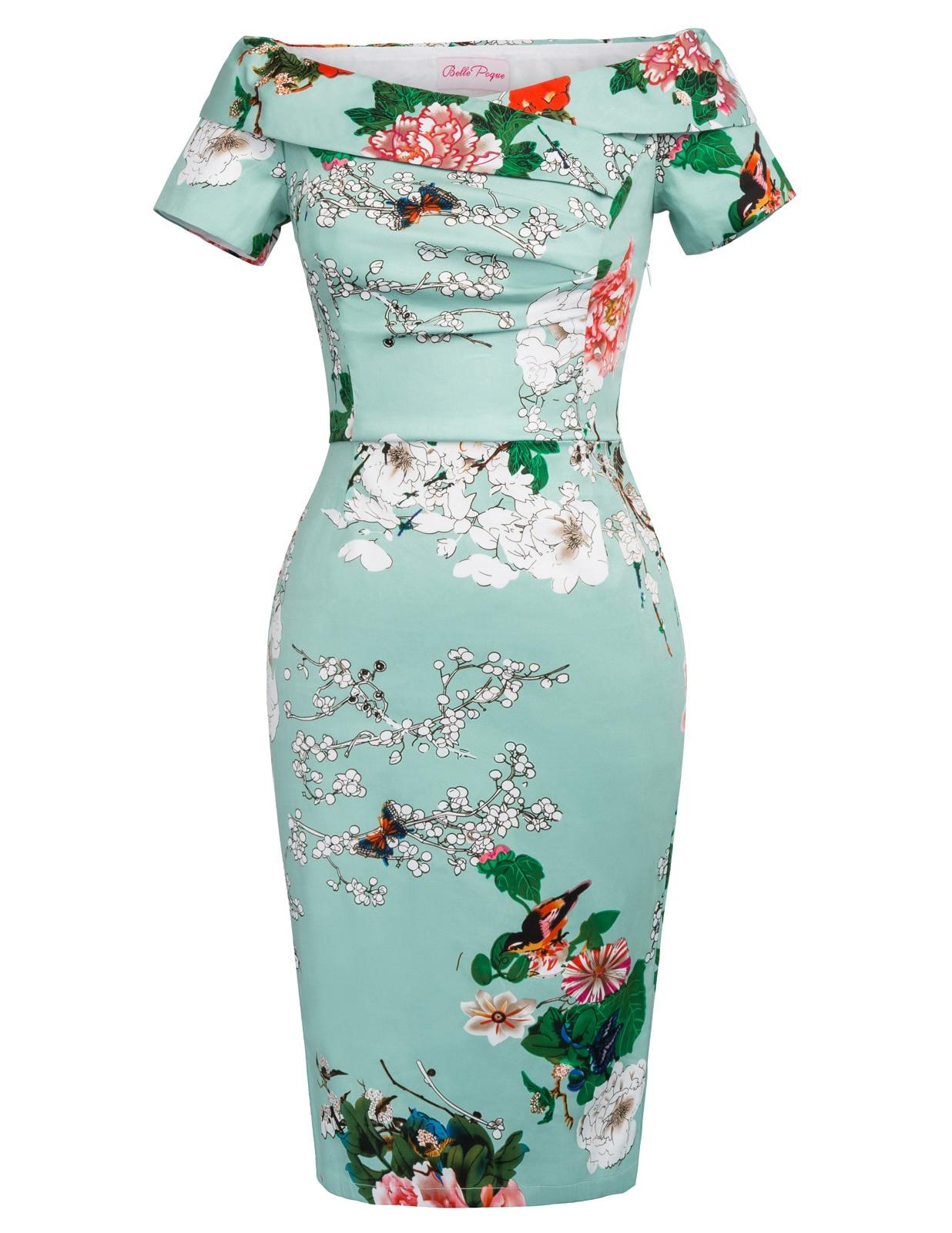 Bp Sexy Floral Dress Elegant Retro Short Sleeve Off Shoulder Design Hips Wrap Slim -6091
