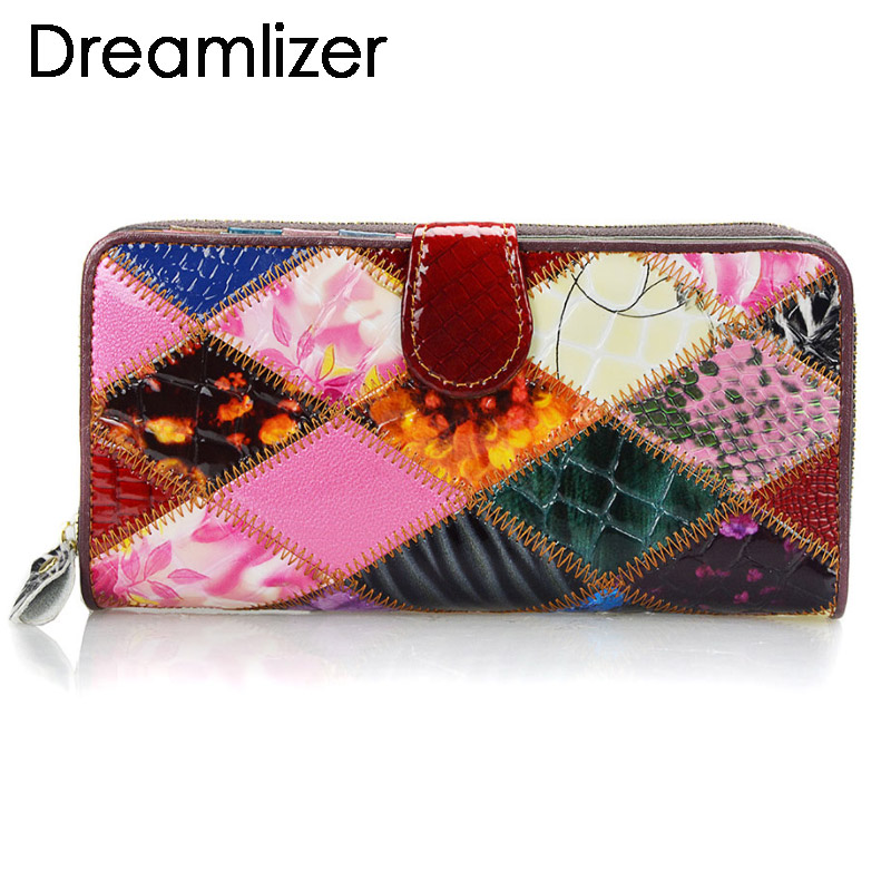 Shining Random Rainbow Color Leather Wallet Women Hasp Clutch Purse for Phone Bifold Long Card Holder Large Female Money Bag saiantth makeup tool set kit combination 15 color concealer palette toothbrush makeup brush water drops sponge puff cosmetic
