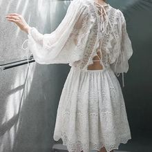 Embroidery Lace Dress Hollow Out Lace-up Fairy White Dress Batwing Sleeve Summer Vocation Beach Dress Vestido Robe Femme 2018