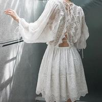 Embroidery Lace Dress Hollow Out Lace up Fairy White Dress Batwing Sleeve Summer Vocation Beach Dress Vestido Robe Femme 2018