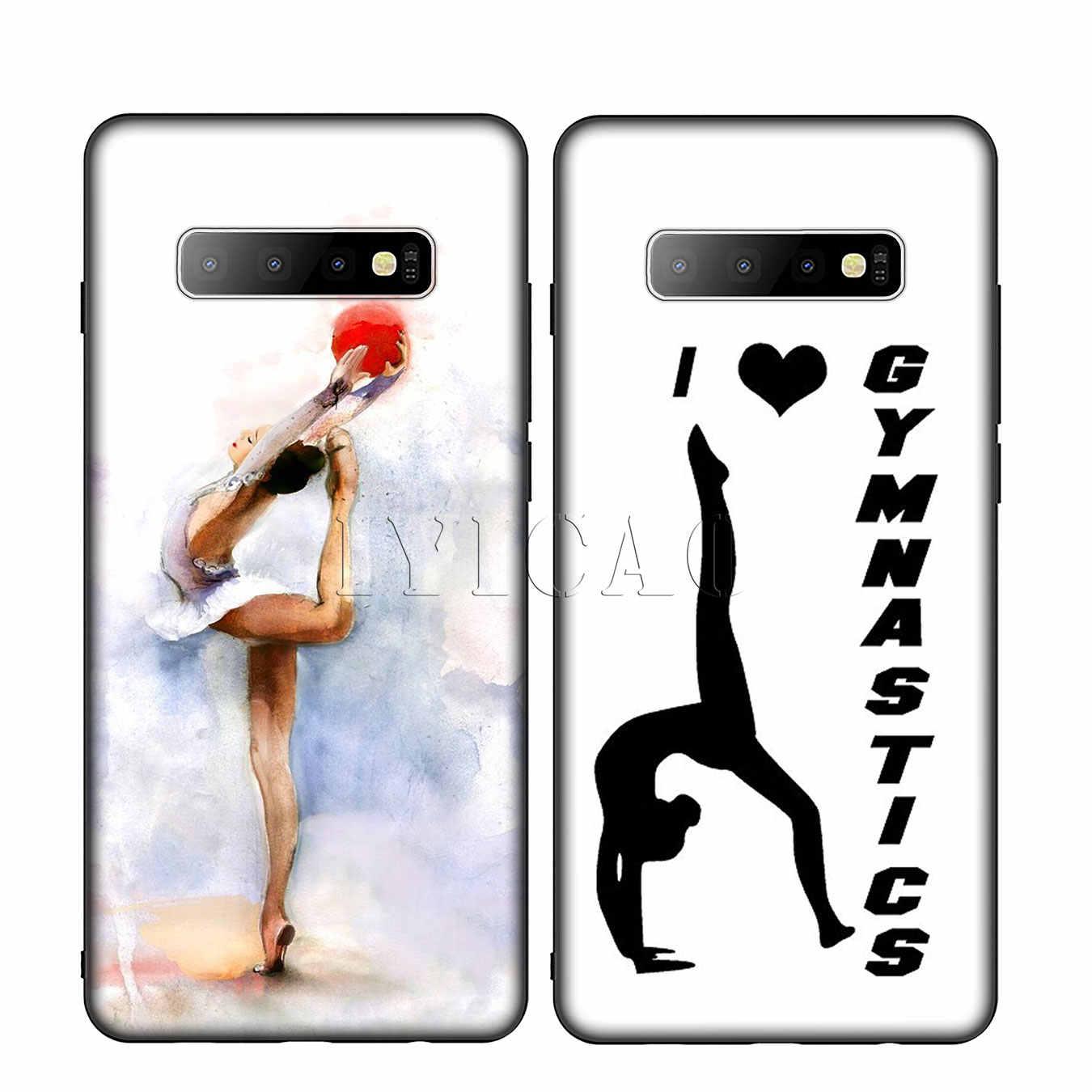 IYICAO Boyama Kız Spor Jimnastik Silikon Yumuşak Telefon samsung kılıfı Galaxy S10 S9 S8 Artı S6 S7 Kenar S10e E Kapak