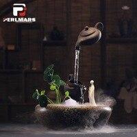 110 В 220 В творческий висит течет фонтан Zen Чай церемонии Desktop украшения фэн шуй Lucky Fish Tank увлажнитель Декор