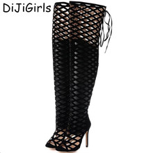 Roman high-heeled Sandals Women Over the Knee High Boots Fetish Lady's Med Stiletto Boots Sexy hollow Gladiator Shoes Woman