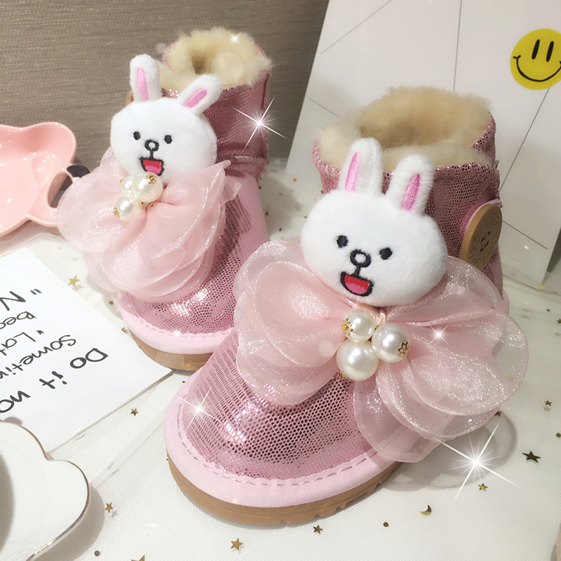 Free Shipping Handmade Pink doll bow Rhinestone crystal baby girl's bling Snow Boots children warm Shiny fashion Winter shoes