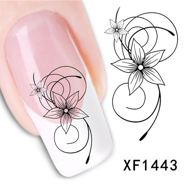 Flower Vine Black Lace Decals Manicure