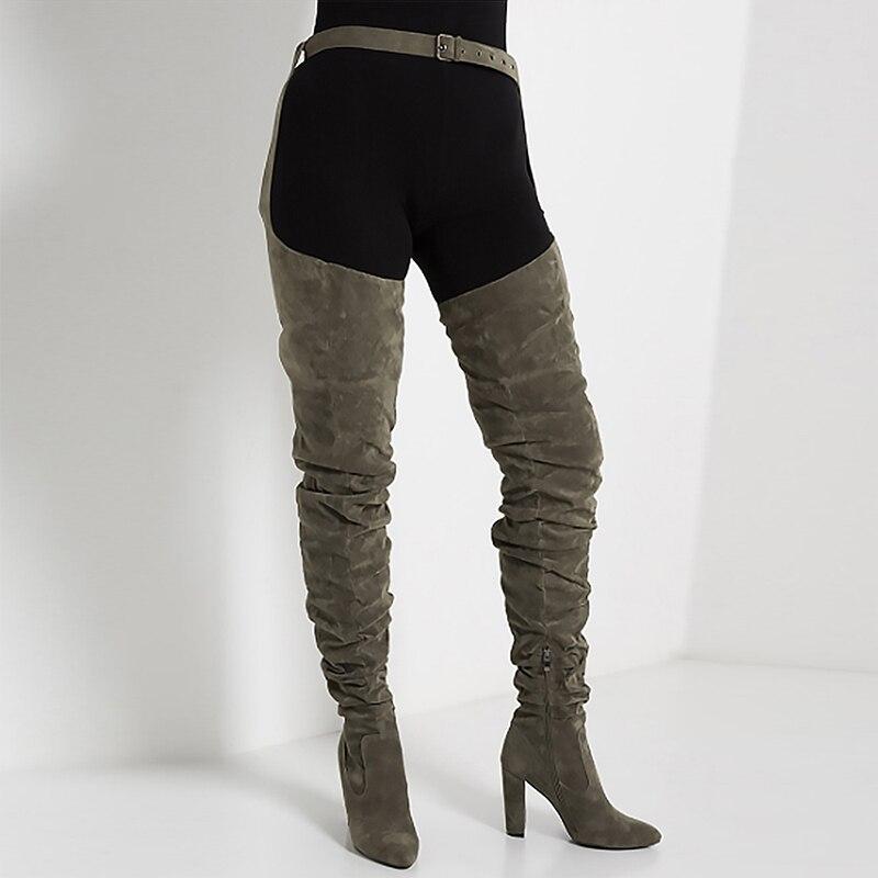 vert Noir Femmes En Cuir Longues Le Taille Ti Sur Faux 36 Bloc Suede Confort Mince Mode De Kemekiss Qualité D'hiver Genou 41 Bottes Talons Qdsthr