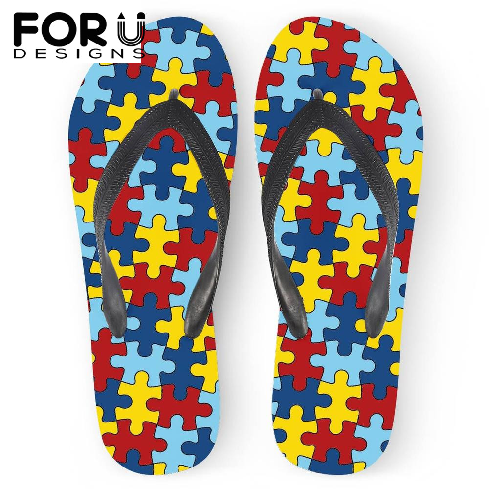 Flip Flops Shoes Conscientious Forudesigns Casual Womens Slippers Autism Awareness Prints Summer Light Beach Slipper Ladies Indoor Home Cool Skull Flip Flops Buy One Get One Free
