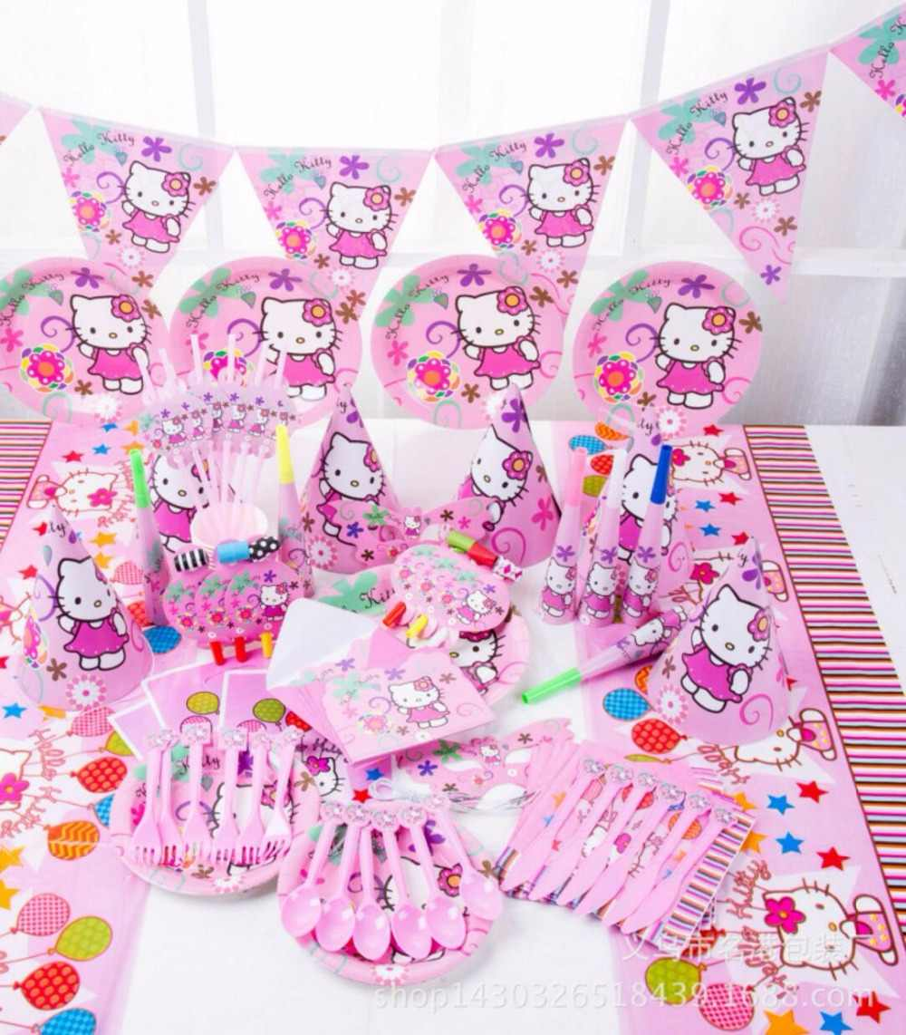 ef74f74cb 84pcs\lot Hello Red Kitty theme Package Kids Birthday Decoration Set Theme  Party Supplies Baby