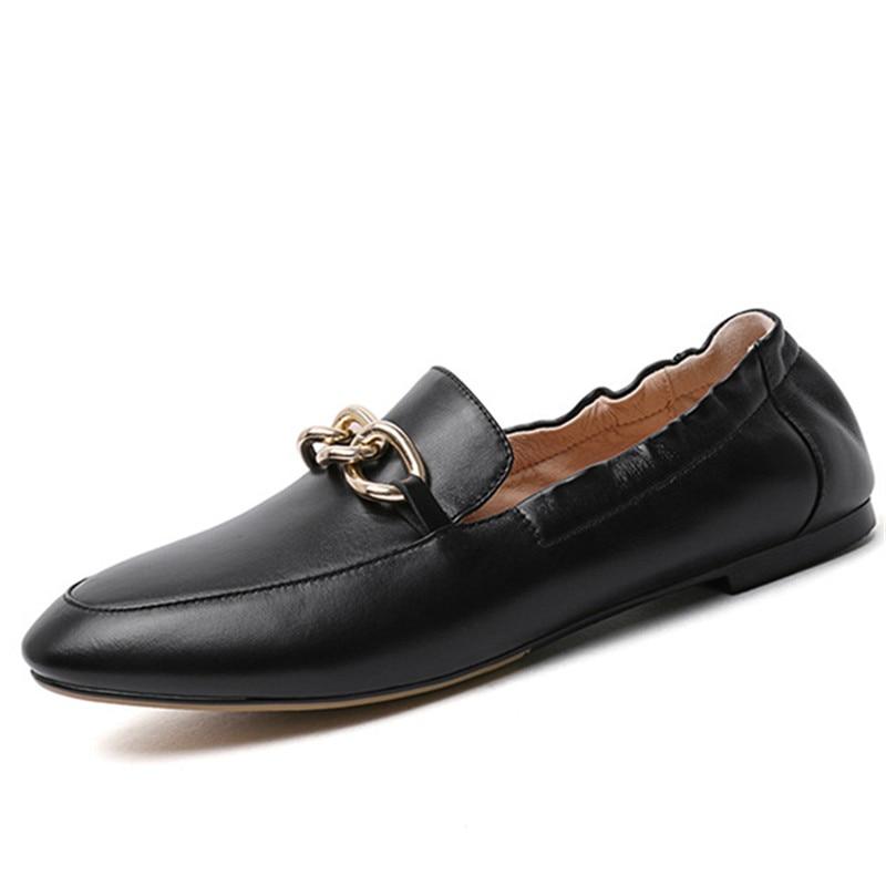 2019 nouvelles explosions chaussures en cuir véritable femme bout rond printemps été chaussures simples marque chaussures plates confortables femme