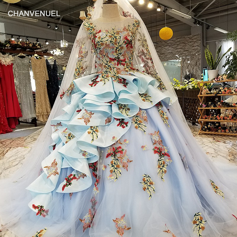 LS35245 blue ruffle ball gown evening dress long sleeve lace up back organza dress with long veil for sexy pretty lovely girls