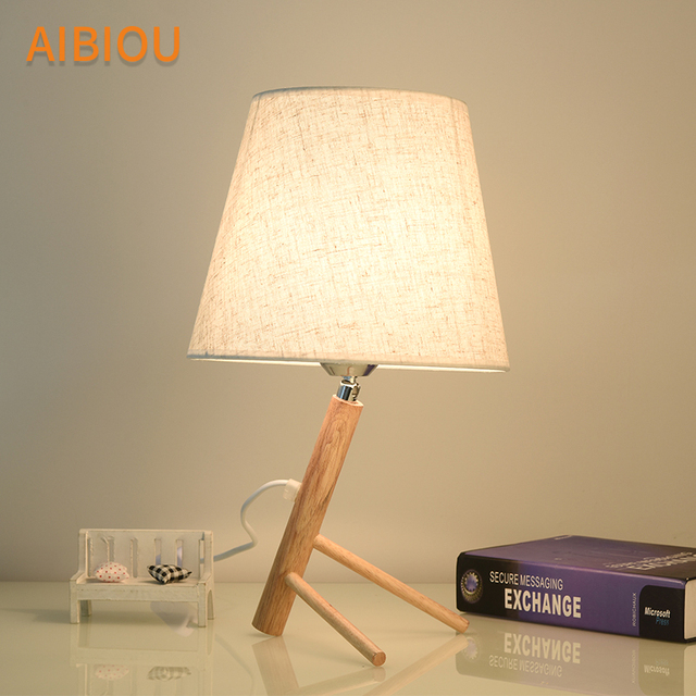 Aibiou Designer Led Table Lamps With Cloth Lampshade For Bedroom Linen Reading Bedside Lighting Wood Hotel