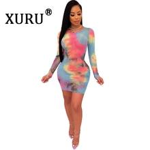 XURU Summer New Women's Tie Dye Print Dress Sexy Slim Long Sleeve Hip Dress Round Neck Yellow Light Blue Dress crisscross neck tie dye cami dress