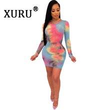 XURU Summer New Women's Tie Dye Print Dress Sexy Slim Long Sleeve Hip Dress Round Neck Yellow Light Blue Dress long sleeve tie dye dress