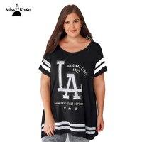 Misskokoファッションビッグサイズ、契約手紙プリントtシャツ夏ユニセックス人気ロゴ手紙スリーブ脂肪緩くtシャ