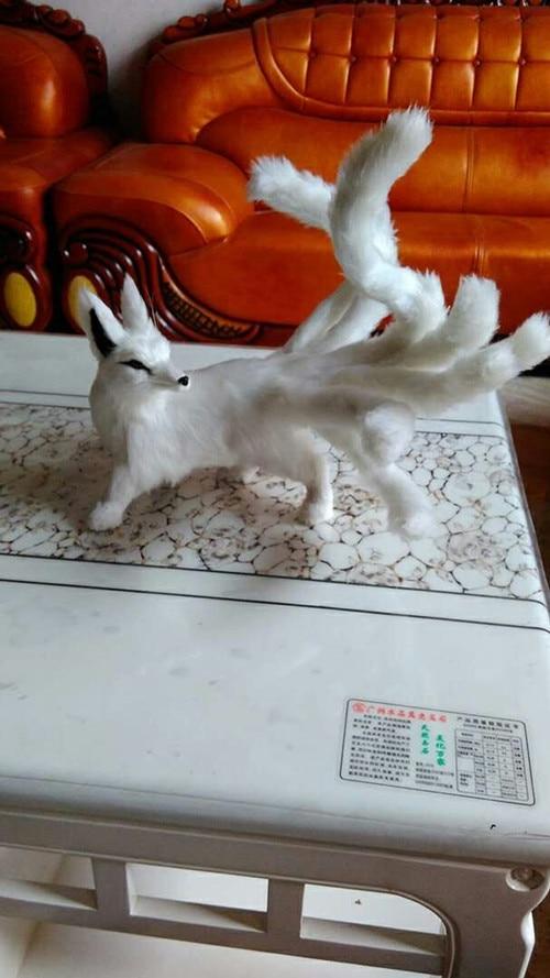 creative simulation fox model plastic&fur white nine-tails fox gift 60x20m a165 big sitting simulation white cat model plastic