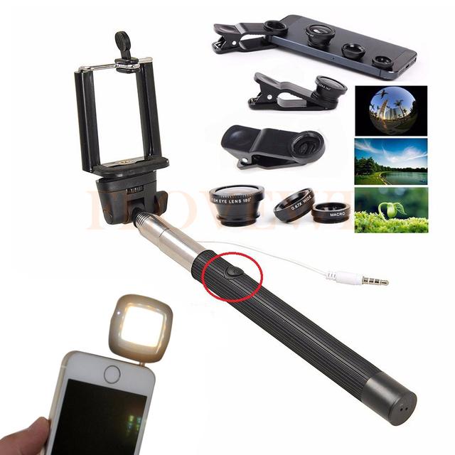 Teléfono 3in1 Kit De Lentes ojo de Pez Lente Macro Gran Angular lentes de microscopio con cable selfie stick monopie clip selfie flash de relleno luz