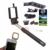 Telefone Lentes Kit 3in1 Lente olho de Peixe Macro Grande Angular as lentes do microscópio com fio selfie vara clipe monopé selfie flash de preenchimento luz