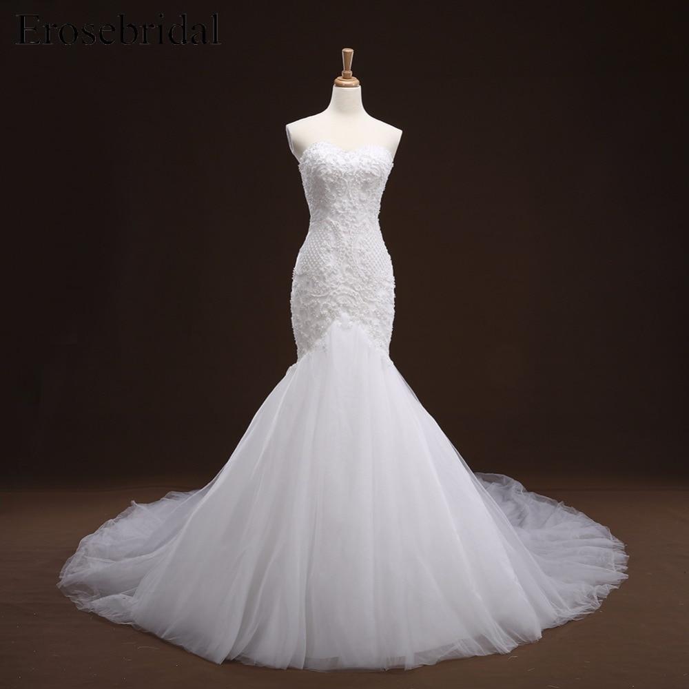 White Mermaid Lace Up Appliques Wedding Dress Long Train