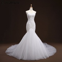 White Mermaid Lace up Appliques Wedding Dress Long Train Beading Bridal Gown robe de mariee Wedding Gown vestido de noiva YY105