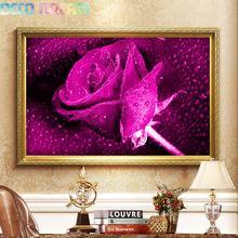 купить Diy Full Round Resin Diamond Painting Embroidery Rhinestones Kit Dripping Purple Rose Flower Mosaic Decor As A Good Hobby Gift дешево