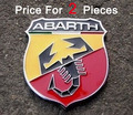 2pcs/lot automobile accessories car body styling 3m glue stickers with metal abarth logo emblem badge