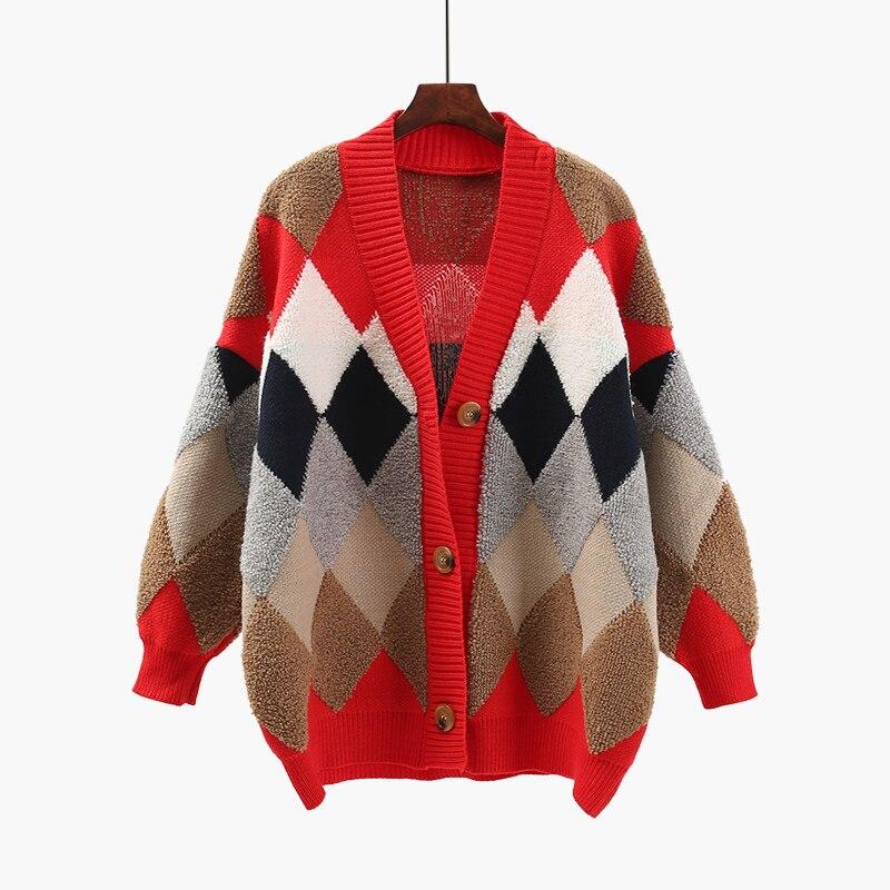 Femmes Vestes Tops blue Hiver Printemps Longues 2018 Red Plaid Tricoté Chandail Lâche Cardigan Épais Manteau Nouveau Vent Poche Femelle HnZXHaqS