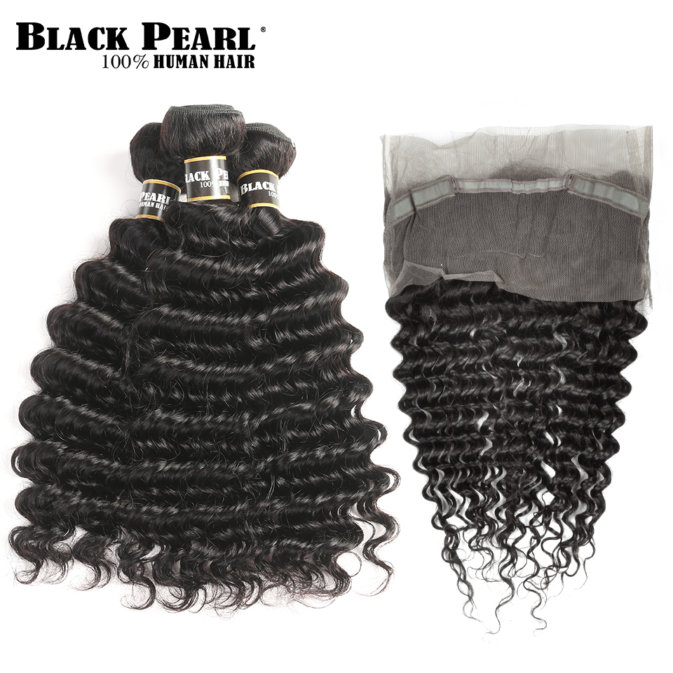 Black Pearl Pre-Colored Peruvian Hair 3 Bundles with Closure Deep Wave Non Remy Human Hair Weave 360 Lace Frontal with Bundles