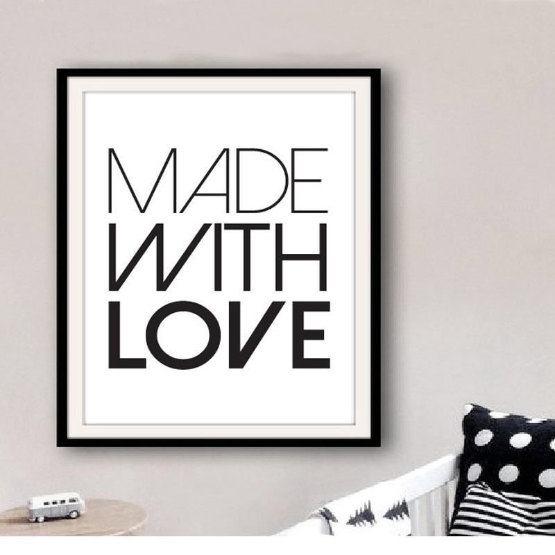 ∞Printable Made With Love Art Quotes Print Canvas Wall Art Modern ...