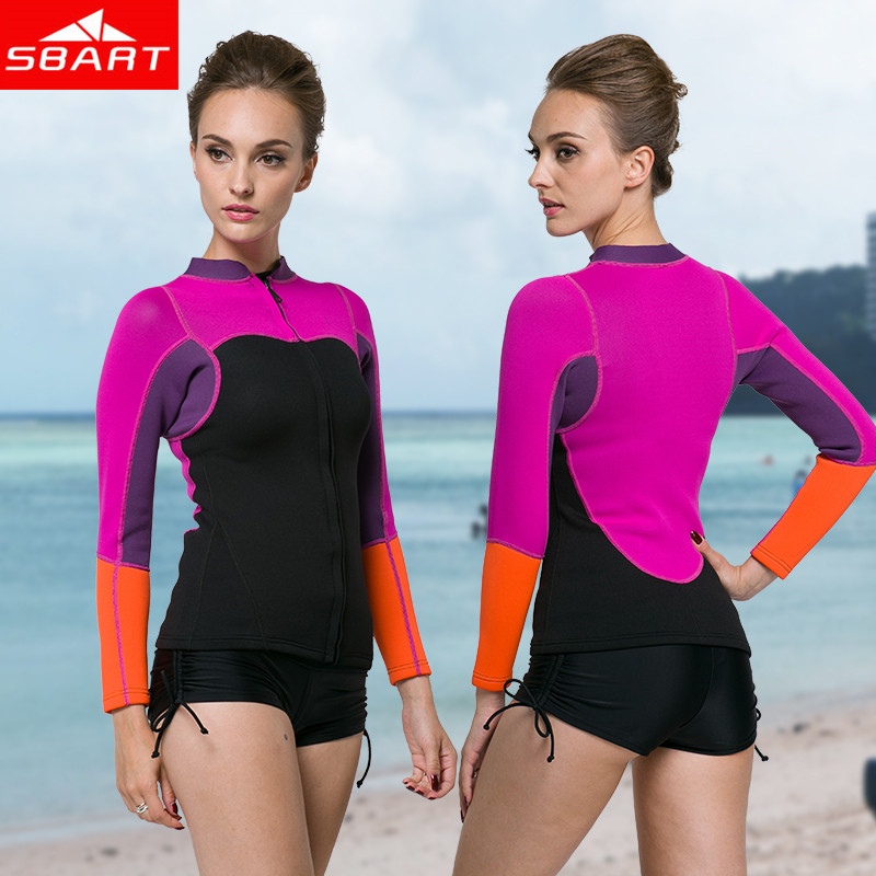 2017 SBART New Arrival Women Neoprene Wetsuit 2MM tops  Neopreno Swimsuit Womens Surf boating drifting Swim Dive Wet sbart upf50 rashguard 2 bodyboard 1006